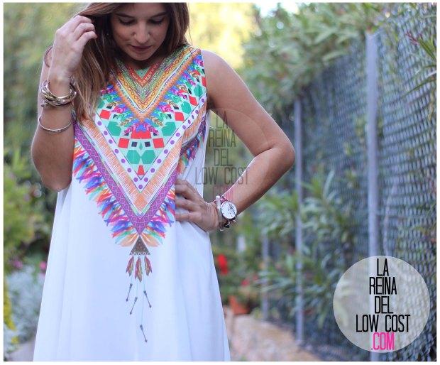 la reina del low cost blog de moda españa mexico vestido etnico estampado blanco gasa verano 2016 primavera efecto collar m&l moda y complementos miryam alicante madrid pilar pascual del riquelme