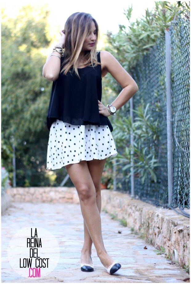 la reina del low cost by peppas zapatos elda baratos bailarinas con tacón blanco y negro falda de lunares H&M mulaya blusas camisetas fábrica Alicante. primavera verano 2016 (2)