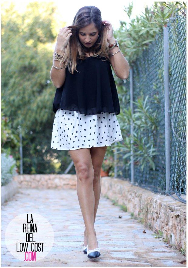 la reina del low cost by peppas zapatos elda baratos bailarinas con tacón blanco y negro falda de lunares H&M mulaya blusas camisetas fábrica Alicante. primavera verano 2016 (4)