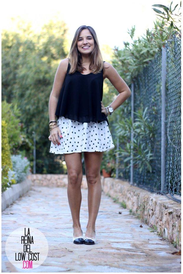 la reina del low cost by peppas zapatos elda baratos bailarinas con tacón blanco y negro falda de lunares H&M mulaya blusas camisetas fábrica Alicante. primavera verano 2016 (5)
