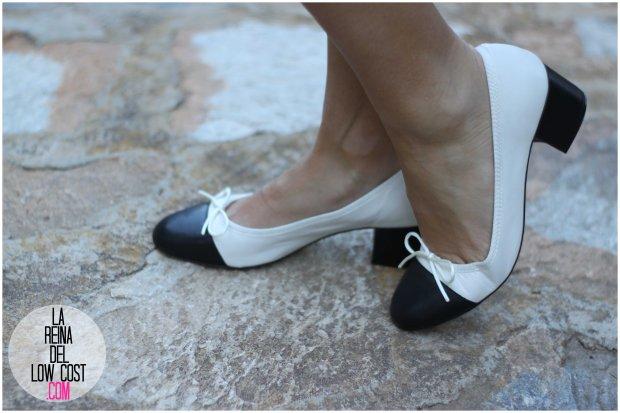 la reina del low cost by peppas zapatos elda baratos bailarinas con tacón blanco y negro falda de lunares H&M mulaya blusas camisetas fábrica Alicante. primavera verano 2016 (8)