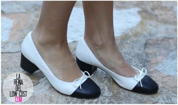 la reina del low cost by peppas zapatos elda baratos bailarinas con tacón blanco y negro falda de lunares H&M mulaya blusas camisetas fábrica Alicante. primavera verano 2016 (9)