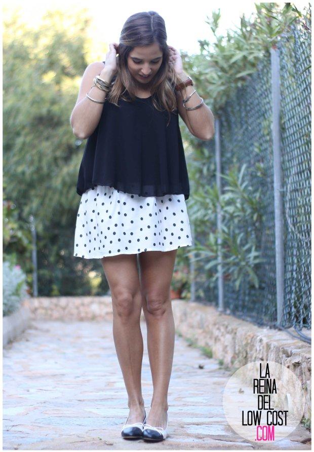 la reina del low cost by peppas zapatos elda baratos bailarinas con tacón blanco y negro falda de lunares H&M mulaya blusas camisetas fábrica Alicante. primavera verano 2016