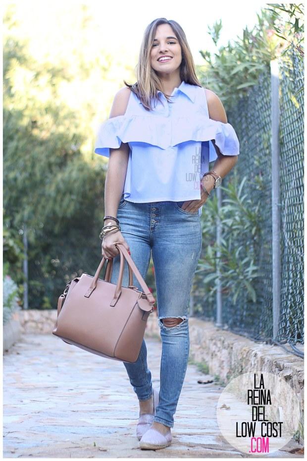 la reina del low cost camisa con volantes vaqueros rotos pull&bear adela gil espardeñas bolso primark online tienda miryam m&l moda y complementos facebook pilar pascual del riquelme (3)