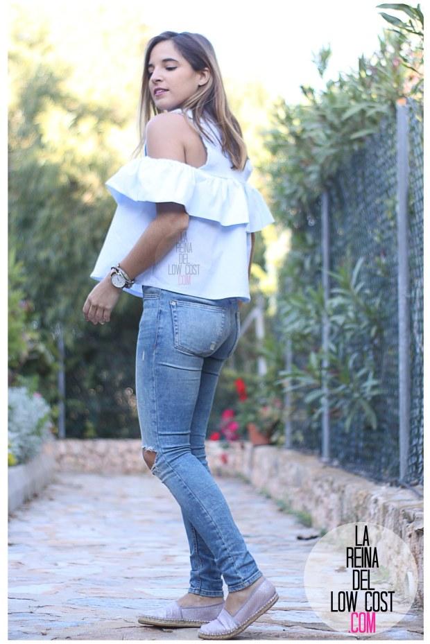 la reina del low cost camisa con volantes vaqueros rotos pull&bear adela gil espardeñas bolso primark online tienda miryam m&l moda y complementos facebook pilar pascual del riquelme (6)