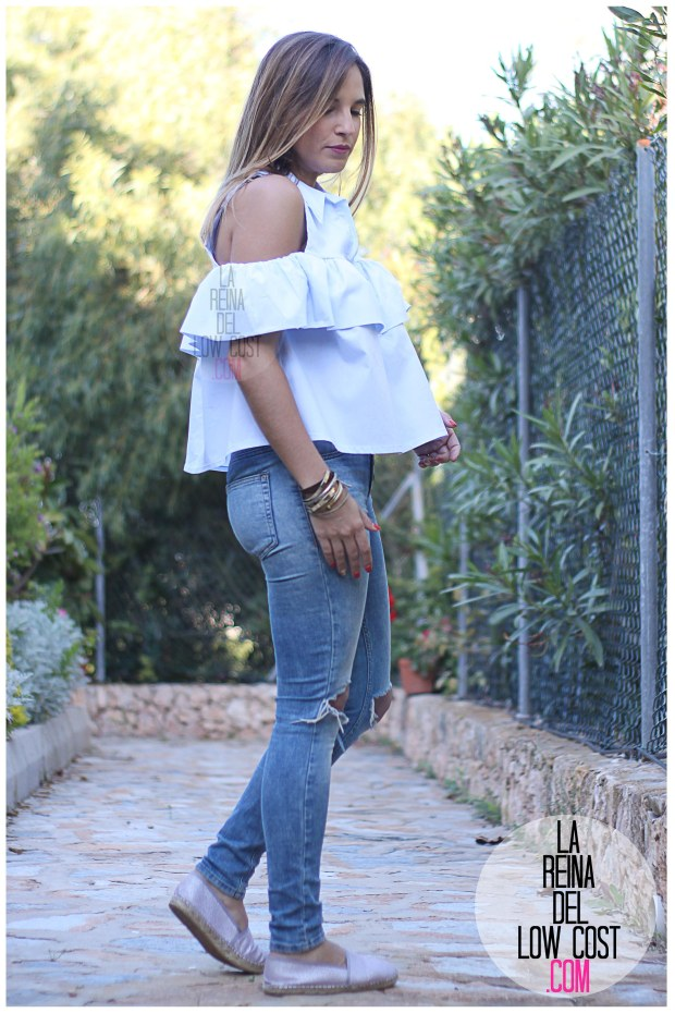 la reina del low cost camisa con volantes vaqueros rotos pull&bear adela gil espardeñas bolso primark online tienda miryam m&l moda y complementos facebook pilar pascual del riquelme (7)