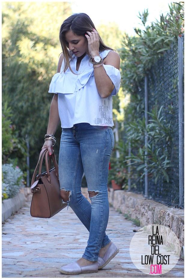 la reina del low cost camisa con volantes vaqueros rotos pull&bear adela gil espardeñas bolso primark online tienda miryam m&l moda y complementos facebook pilar pascual del riquelme (9)