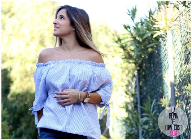 la reina del low cost look primavera verano 2016 prenda tendencia blusa hombros descubiertos lazos miryam m&l moda complementos rayas azul claro vaqueros zara trafaluc (10)