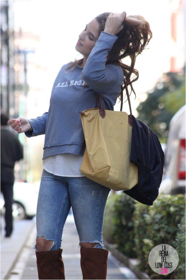 la reina del low cost blog de moda real barata monisqui fuencarral sudadera camiseta con mensaje motivador all right roberto verino gabardina bolso mostaza longchamp pantalones vaqueros rotos pull&bear pilar pascual del riquelme